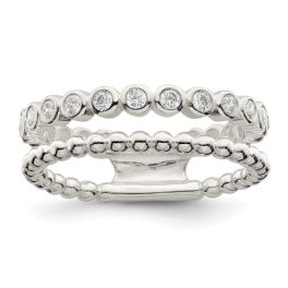 Sterling Silver Polished CZ Bead Double Fancy Ring