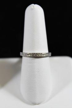 14K White Gold Diamond Wedding Band with Milgrain Edge - .15CT