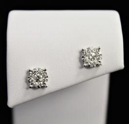 14K White Gold Diamond Cluster Stud Earrings - .50Ct