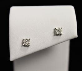 10K White Gold Diamond Cluster Earrings - .14CT