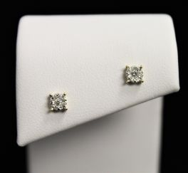 10K Yellow Gold Diamond Cluster Earrings - .14CT