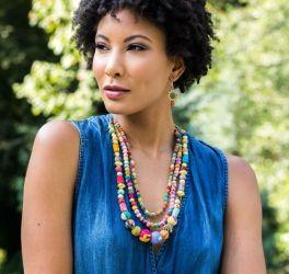 Anju Aasha Triple Strand Necklace - Multi