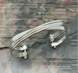 Anju Silver Plated Adjustable Cuff Bracelet - Silver