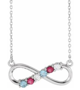 Sterling Silver 6-Stone Family Infinity Necklace