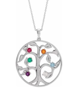 Sterling Silver 6-Stone Family Tree Necklace