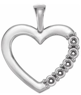 Sterling Silver 5-Stone Family Heart Pendant