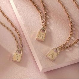 Lock & Key Initial Necklace - Gold