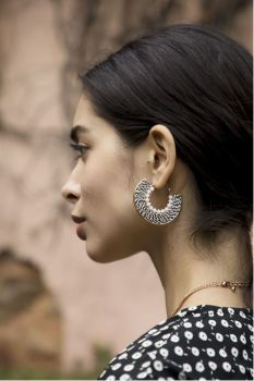 Myra Zebra Zeal Hoop Earrings - Black