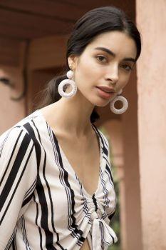 Myra Crystal Clear Hoop Earrings - White