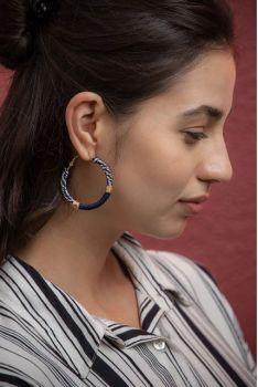 Myra Sailor Tales Hoop Earrings - Navy
