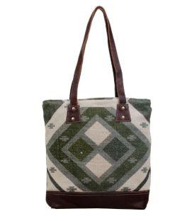Myra Checkered Tote Bag - Green