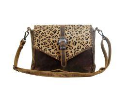Myra Swish Leather & Hairon Bag - Brown