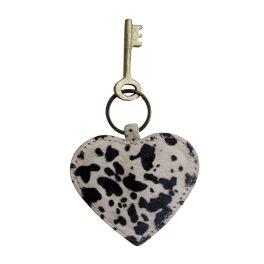 Dalmatian Print Heart Shaped Key Chain