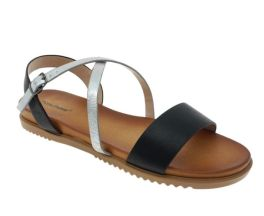 Staying Grounded Sandal - Black/Silver