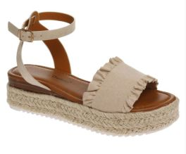 Stepping Out Wedge Sandals - Nude