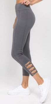 Lovable Lattice Capri Leggings - Grey