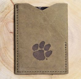 Clemson Brown Leather ID Wallet