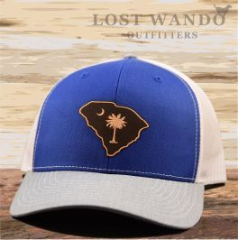 SC Etched Leather Outline Hat - Royal Blue, White & Heather Grey