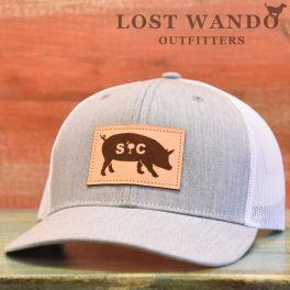 SC Pig Hat - Heather Gray & White