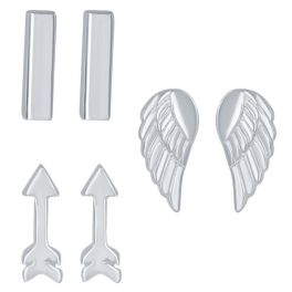 Sterling Silver Set of 3 Bar, Arrow, & Angel Wings Stud Earrings