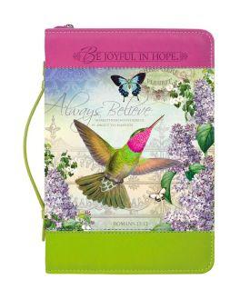 Lilac Garden Hummingbird Printed Bible Cover - Medium