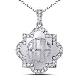 Sterling Silver Engravable Quatrefoil Necklace