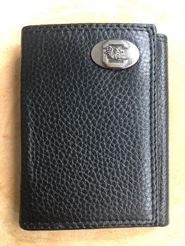 USC Black Trifold Pebble Wallet