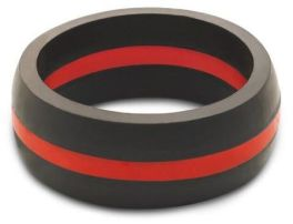 Men's Thin Red Line Silicone Qalo Band