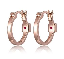 Elle Sterling Silver Rose Plated Hoop Earrings