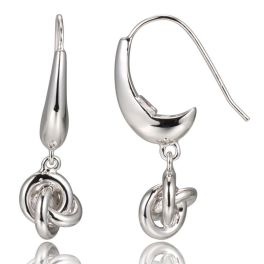 Elle Sterling Silver Single Love Knot Earrings