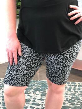 Sassy Girl Biker Shorts In Plus - Grey Leopard