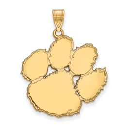 Sterling Silver Clemson University Extra Large Pendant - Gold Plated