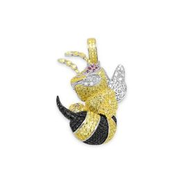 Sterling Silver Multi Colored Angry Hornet Cubic Zirconia Pendant