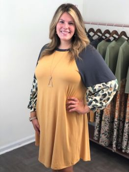 Wild For You Dress In Plus - Mustard