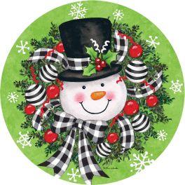 Snowman Wreath Accent Magnet