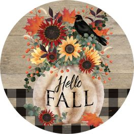 Pumpkin And Crow Accent Magnet