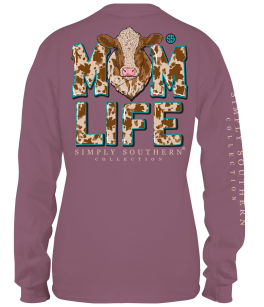 Simply Southern Cow Mom Long Sleeve T-Shirt