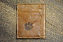 Tan Slim Front Pocket Clemson Wallet
