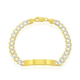 """Sterling Silver Gold Plated 7mm Pave Curb ID Bracelet - 8.5"""""""