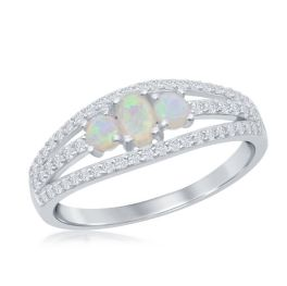 Sterling Silver 3-Stone White Imitation Opal Open Cubic Zirconia Band Ring