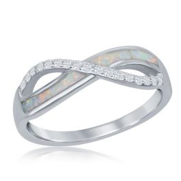 Sterling Silver Cubic Zirconia White Inlay Opal Infinity Ring