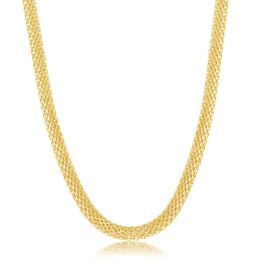 """Sterling Silver Gold Plated 5mm Flat Mesh Chain - 19"""""""