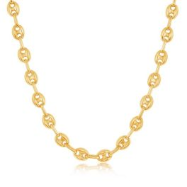 """Sterling Silver Gold Plated 6mm Puffed Marina Chain - 16"""""""