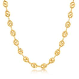 """Sterling Silver Gold Plated 6mm Puffed Marina Chain - 18"""""""