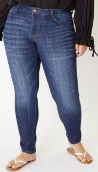 Good Vibrations Mid Rise Super Skinny Jeans In Plus - Dark Denim