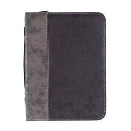Silver Black Crosses Bible Cover - Medium