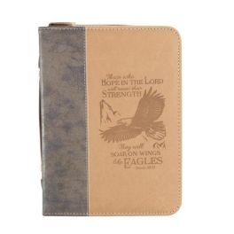 Brown Wings Of Eagles Bible Cover - Medium
