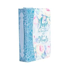 Blue Floral Love Into Hearts Bible Cover - Medium