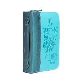 Teal Floral Everything In Love Bible Cover - Medium