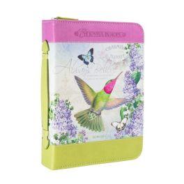 Lilac Garden Hummingbird Printed Bible Cover - Large